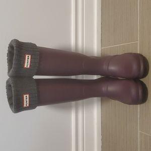 Hunter Back Adjustable Tall Rain Boot Size 8 WITH Thermal Boot Socks